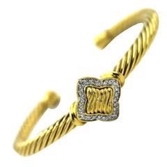 David Yurman Diamond Gold Quatrefoil Cuff Bracelet