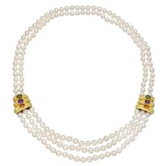 Multistrand Pearl Necklace with Gold and Gem-Set Panels