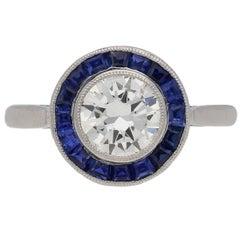 1915 english sapphire Diamond platinum target ring