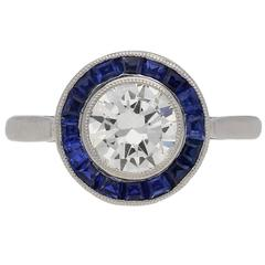1915 english sapphire Diamond platinum target ring