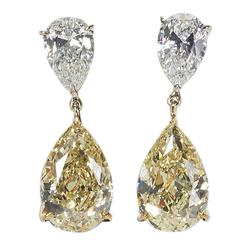 Important 14 carats GIA Cert White and Fancy Yellow Diamonds Earrings