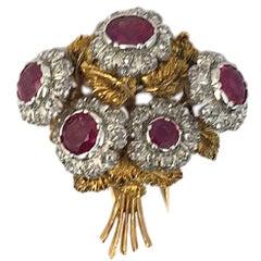 Buccellati Ruby and Diamond Bouquet Brooch
