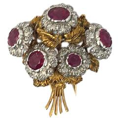 Buccellati Ruby and Diamond Bouquet Brooch