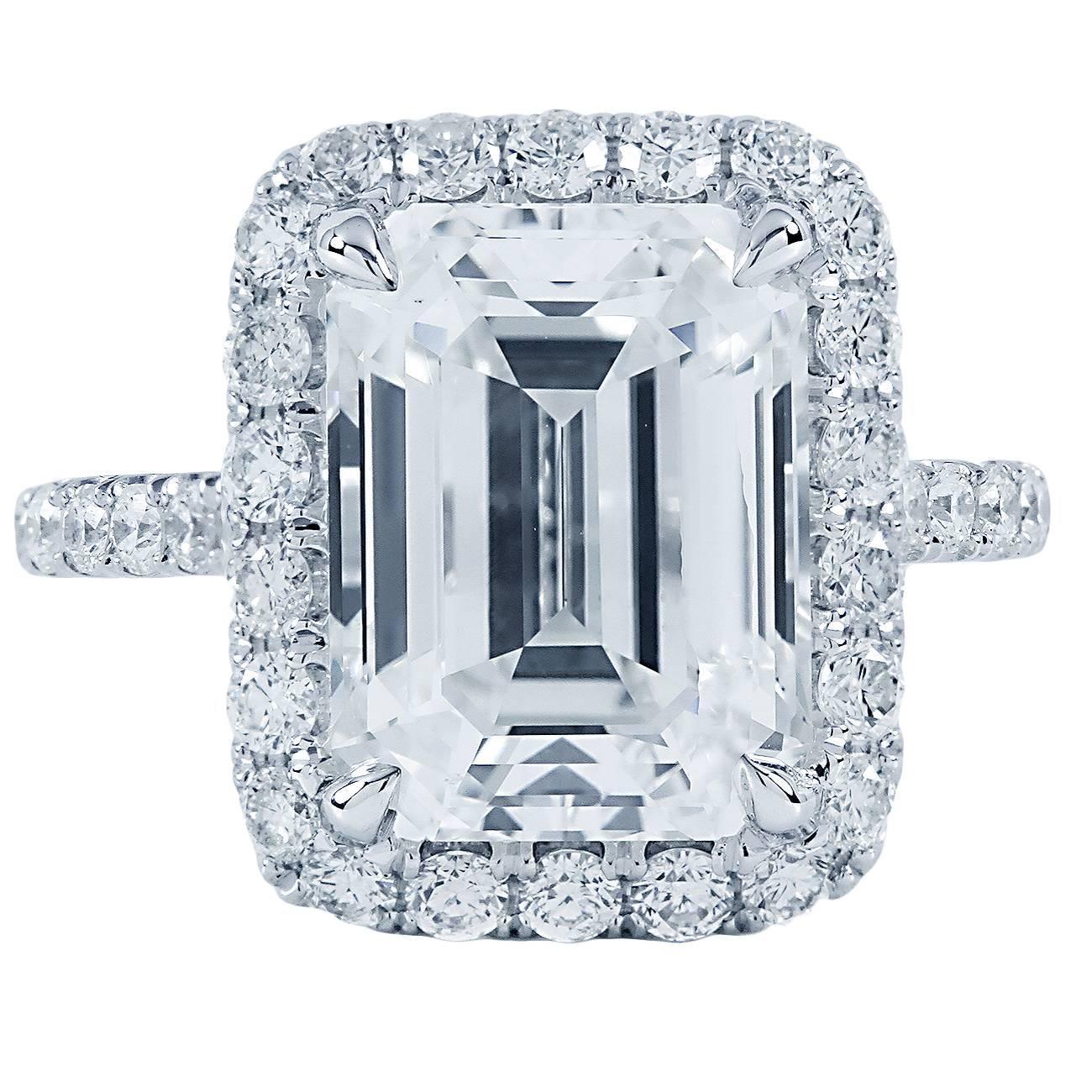 6 12ct Emerald Cut Halo Engagement Ring H VS2 at 1stdibs