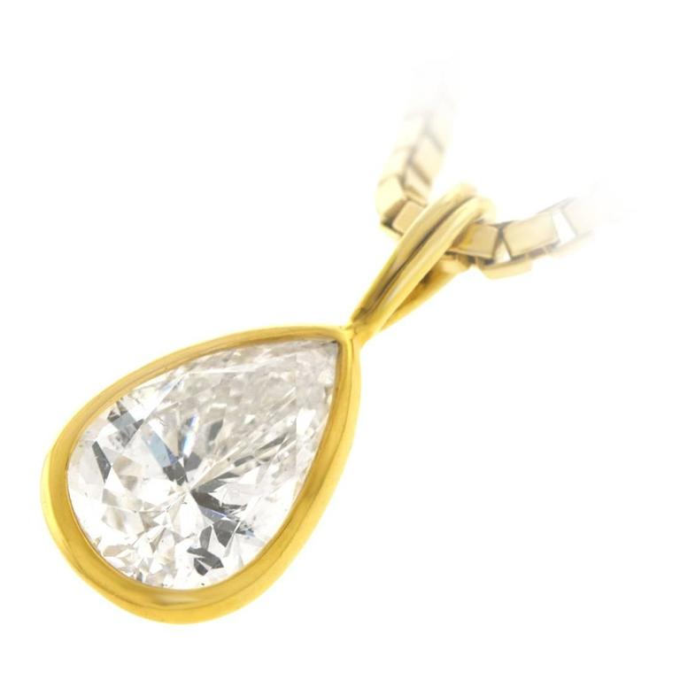 2.45 Carat Pear-Shaped Diamond Pendant For Sale