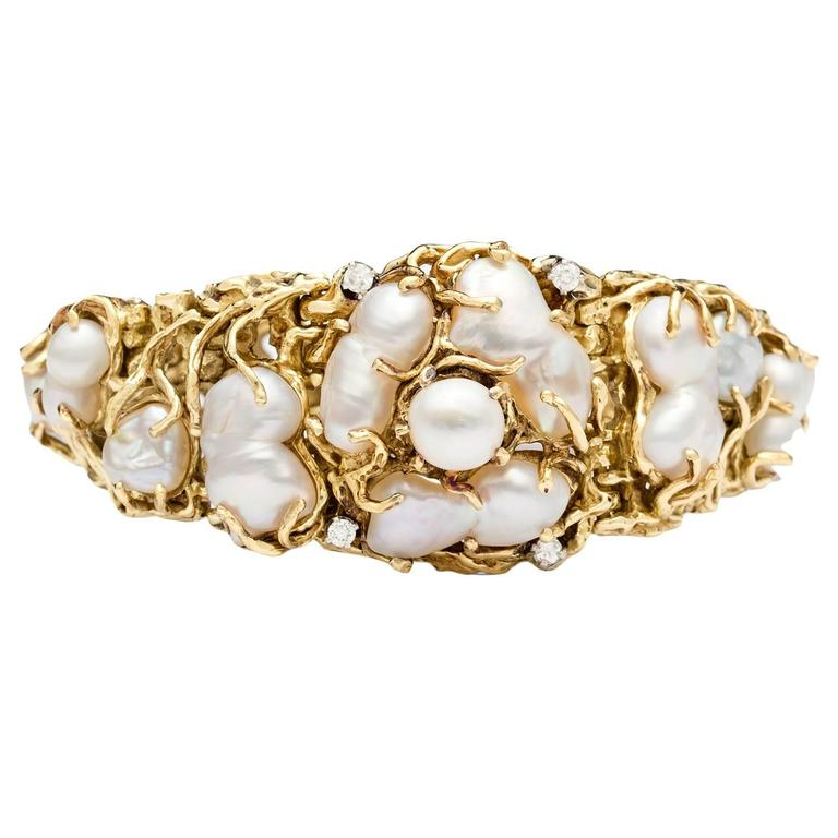 Vintage Baroque Pearl & Diamond Bracelet