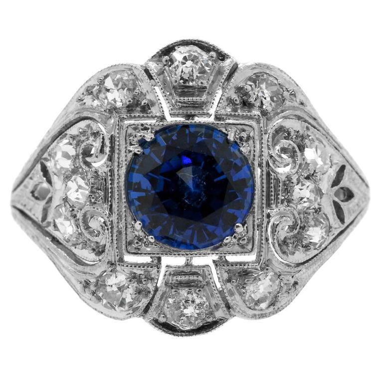 1930's Antique Ceylon Sapphire & Diamond Ring 1