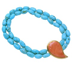 Colleen B. Rosenblat turquoise coral gold necklace