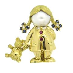 Fred Paris Adorable Pearl Sapphire Diamond Gold Girl with Teddy Bear Brooch