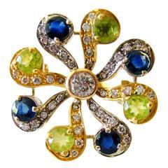 1970s European Peridot Blue Sapphire Diamond Gold Ring