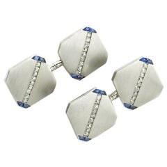 J. E. Caldwell Sapphire Diamond and Platinum Cufflinks, Dated 1922