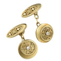 Aesthetic Movement Diamond Gold Cufflinks