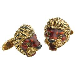 1960s Frascarolo Enamel Emerald Gold Lion Cufflinks