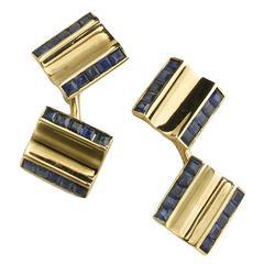 1950s Cartier sapphire gold cufflinks