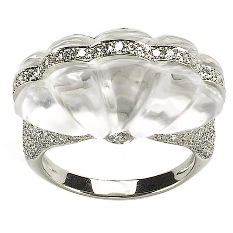 Rock Crystal Diamond Platinum Ring