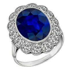Splendid 6.59 carat Sapphire Diamond Platinum Ring