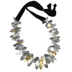 Enric Majoral Silver Gold Big Scoops Double Black Cord Necklace