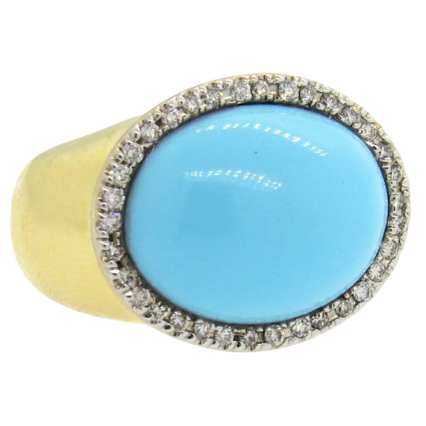 faraone mennella gold turquoise ring at 1stdibs