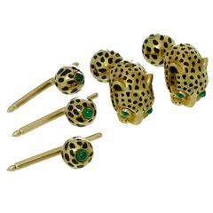 David Webb Enamel Emerald Gold Leopard Cufflinks and Studs Set Father's Day