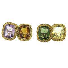 Antique Continental Multicolor Gemstone Gold Cufflinks
