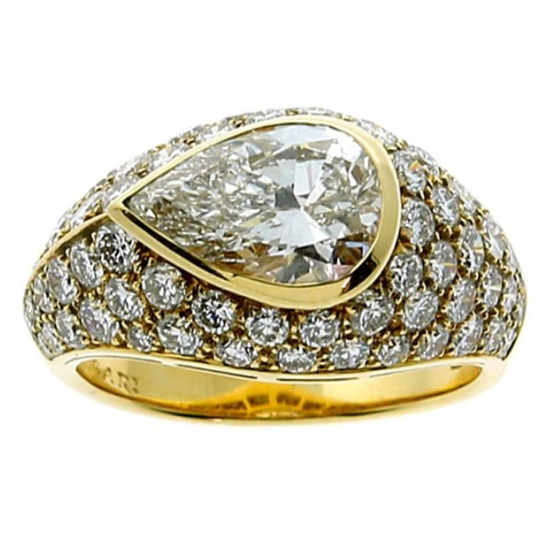 Bulgari Magnificent Pear Diamond Gold Ring