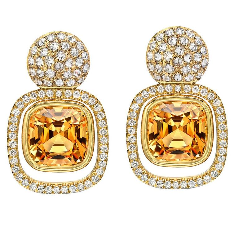 Tamir Superb 8.81 Carat Imperial Topaz Diamond Gold Earrings 1
