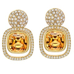 Imperial Topaz Diamond Yellow Gold Drop Earrings 8.81 Carat Cushion