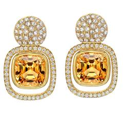 Striking Pair Of Imperial Topaz Diamond Gold Earrings
