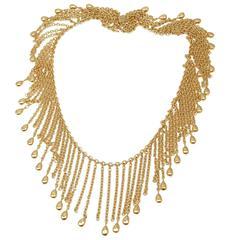 Van Cleef & Arpels Gold Graduated Fringe Link Necklace