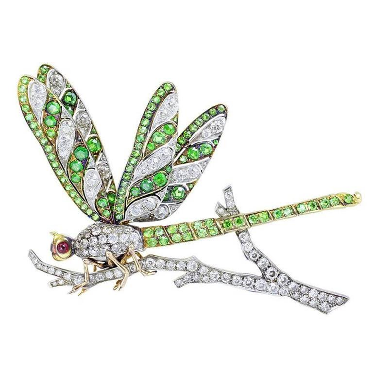 Demantoid Garnet Diamond gold Platinum Dragonfly Brooch