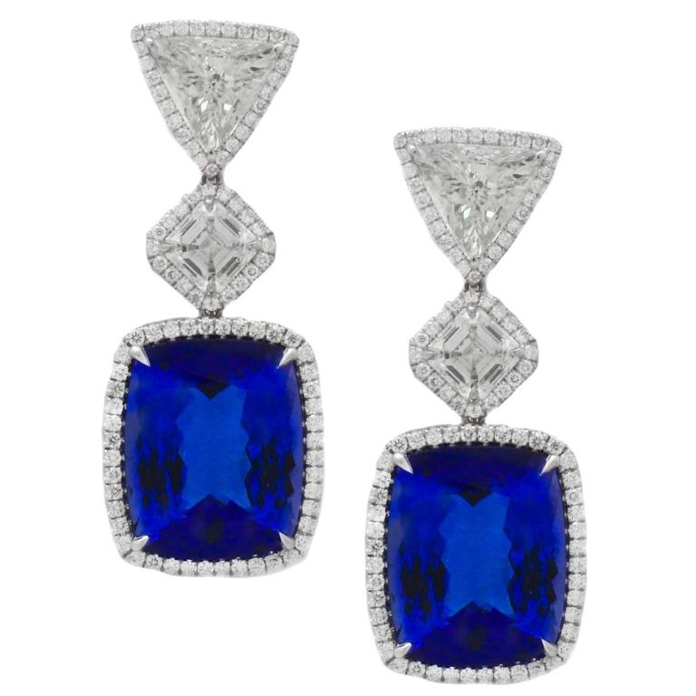 GIA Certified Tanzanite Diamond Gold Platinum Earrings For Sale