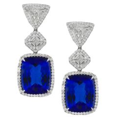 GIA Certified Tanzanite Diamond Gold Platinum Earrings