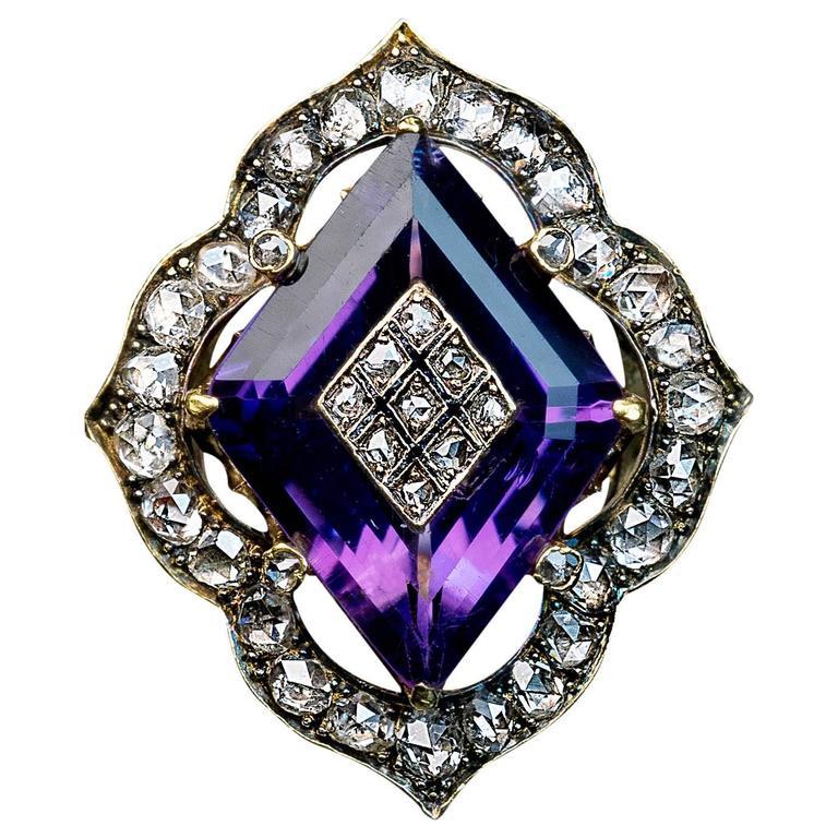 Antique Victorian Amethyst Diamond Gold Ring