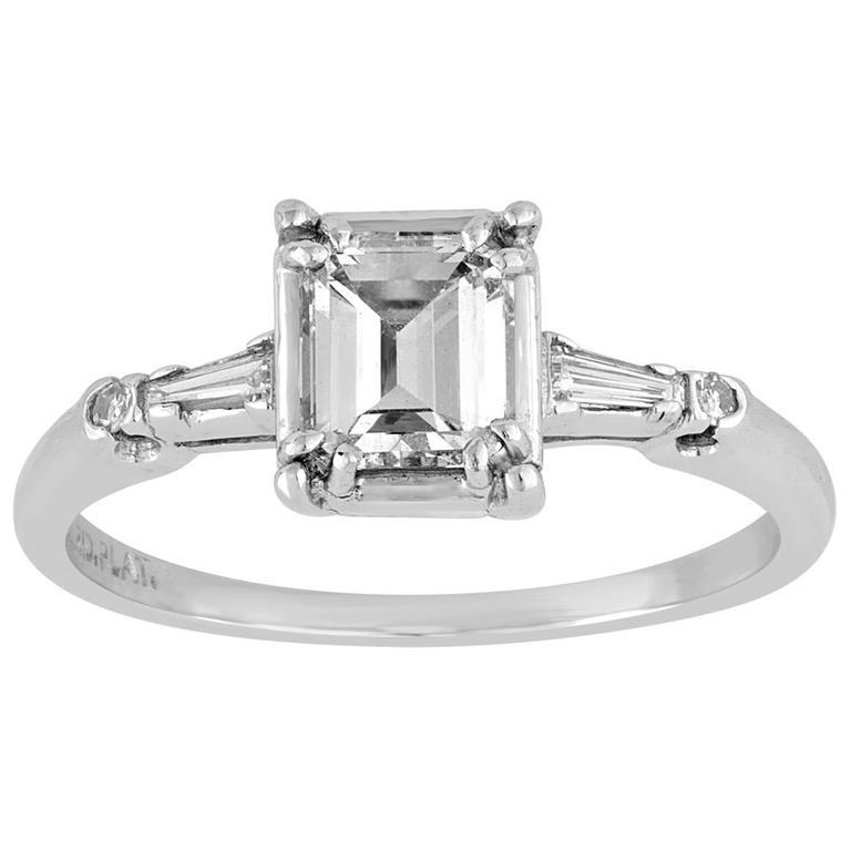 IGI Certified 0.71 Carat Emerald Cut Diamond Platinum Gold Ring 1