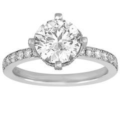 Hearts On Fire GIA 2.02 Carat G VVS2 Round Diamond Platinum Ring