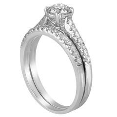 GIA Certified 0.54 Carat E I1 Diamond Gold Engagement Wedding Band Set
