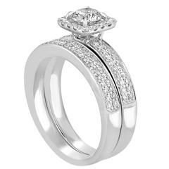 GIA Certified 0.55 Carat H I1 Diamond Gold Engagement Band Set