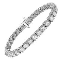 IGI Certified 13.18 Carat Diamond Gold Tennis Bracelet