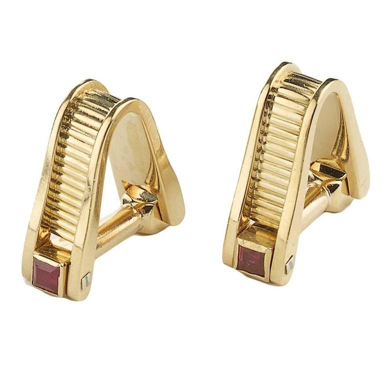 Ruby Gold Stirrup Cufflinks