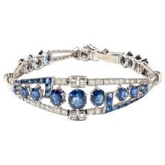 Art Deco Sapphire Diamond Bracelet in Platinum and White Gold