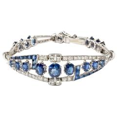 Art Deco Sapphire Diamond Bracelet in Platinum and White Gold