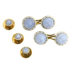 Blue Lace Agate Enamel Gold Gentleman's Dress Set