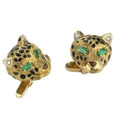 Frascarolo Enamel Emerald Gold Leopard Cufflinks