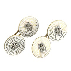 Art Deco Enamel Gold Cufflinks