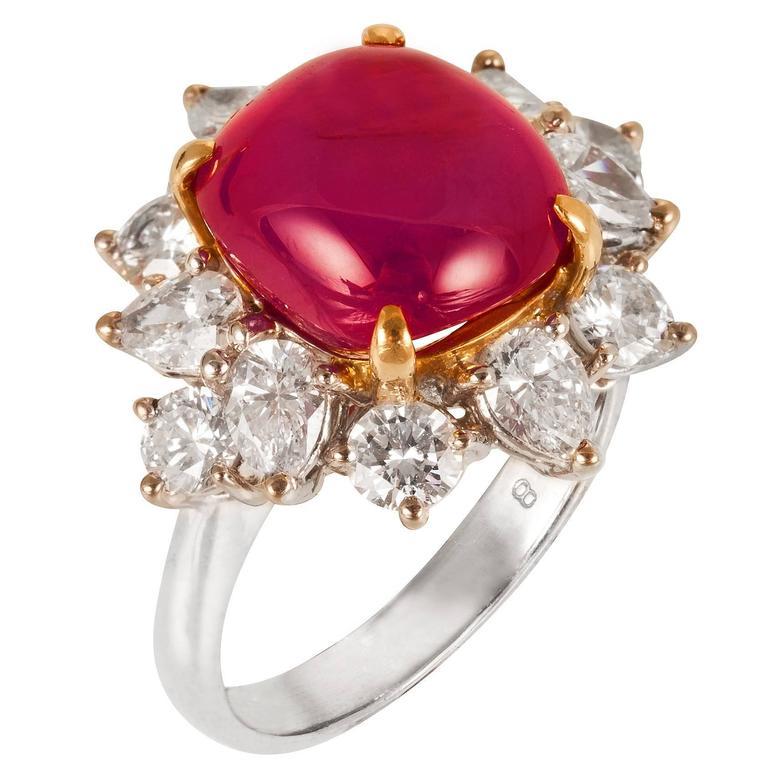 Star Ruby Diamond Gold Platinum Ring