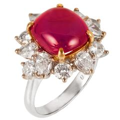Star Ruby Diamond Gold Platinum Ring
