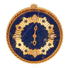 Van Cleef & Arpels Lapis Lazuli Sapphire Diamond Gold Travel Clock