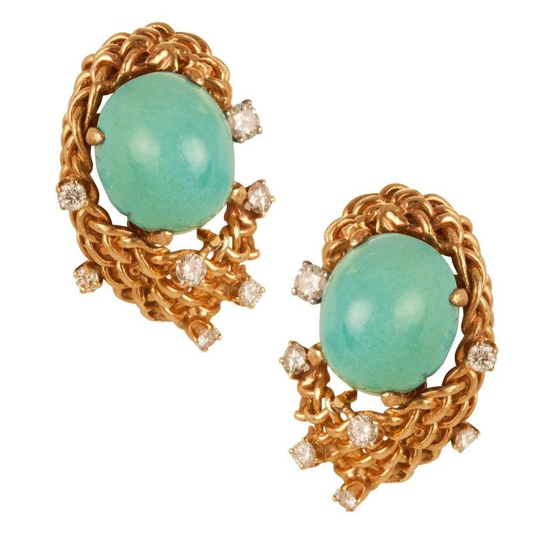 Seaman Schepps Turquoise and Diamond Earrings