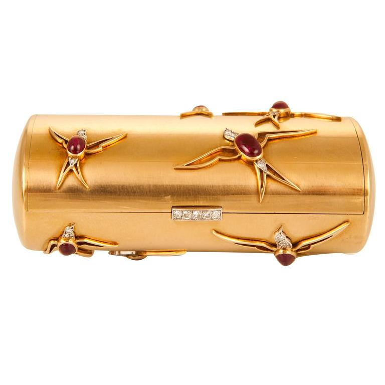 Cartier Ruby Diamond Gold Compact