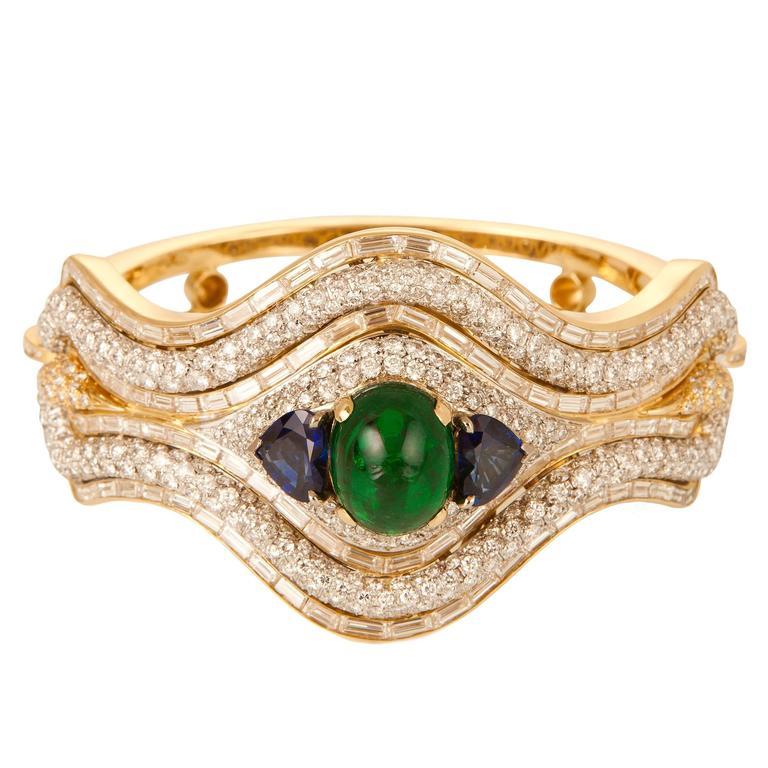 Emerald Sapphire Diamond Gold Bangle Bracelet
